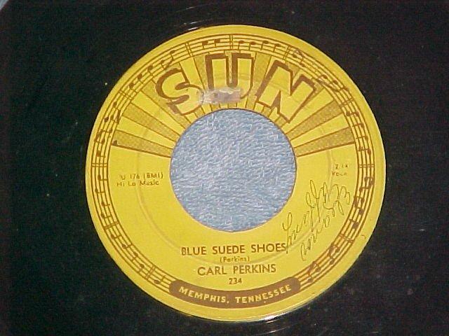 45-CARL PERKINS-BLUE SUEDE SHOES-Sun234-small print-VG+