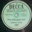 Promo 78--ANDREWS SISTERS--THAT EVER LOVIN' RAG--Decca