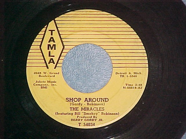 45-THE MIRACLES-SHOP AROUND-Horizontal Lines label--VG+
