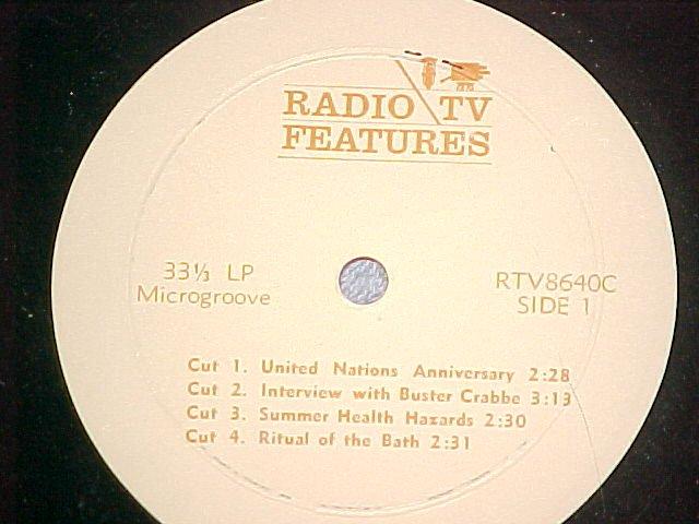 "10"" Radio Spot LP-No Jacket-c. 1964-""Radio/TV Features"""