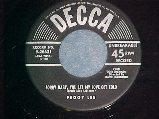 45-PEGGY LEE--WHO'S GONNA PAY THE CHECK--1953-Decca--NM
