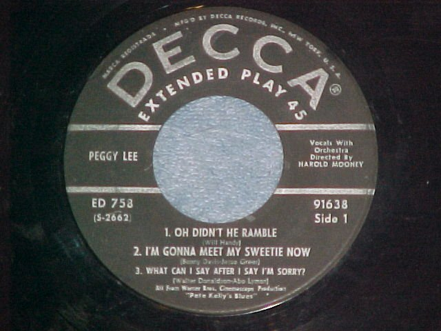 EP-PEGGY LEE-PETE KELLY'S BLUES-1952-Decca ED-758--VG++