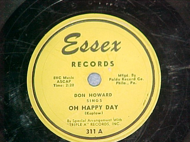 78-DON HOWARD-OH HAPPY DAY-1953-Essex 311-yellow label