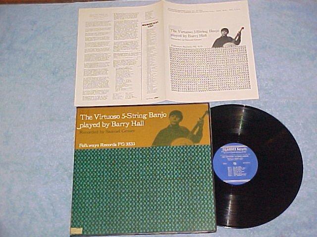 BARRY HALL-VIRTUOSO 5-STRING BANJO-Folkways LP w/Insert