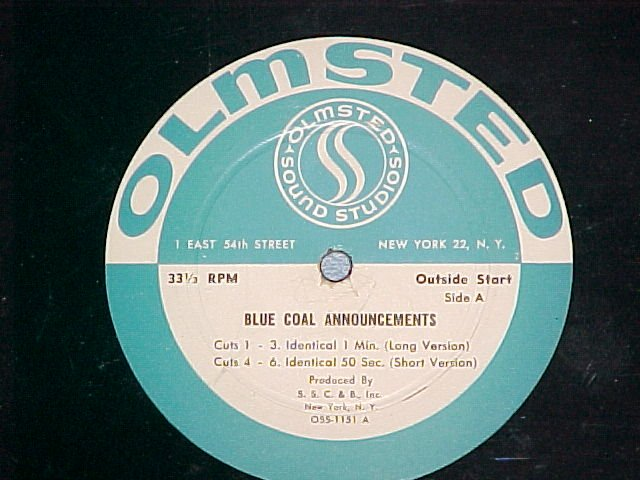 BLUE COAL ANNOUNCEMENTS ~Mystery LP~ Olmstead,NYC~NoJkt