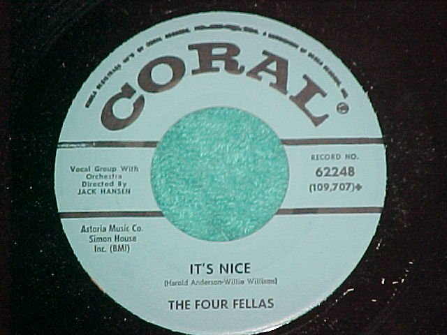 45-THE FOUR FELLAS-IT'S NICE-1961-Coral62248-Promo-NM(4