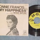 45 w/PS--CONNIE FRANCIS--MY HAPPINESS--NM White Sleeve