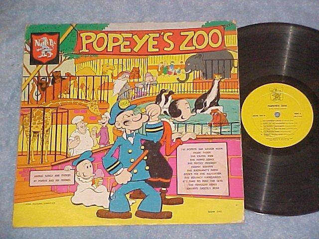 POPEYE'S ZOO-ANIMAL SONGS & STORIES-Rare c.'60 LP-Noble