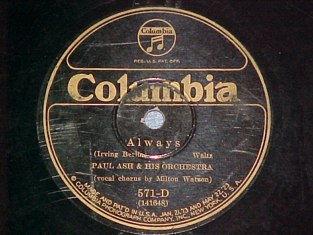78--PAUL ASH ORCHESTRA--ALWAYS--1926--Columbia 571-D