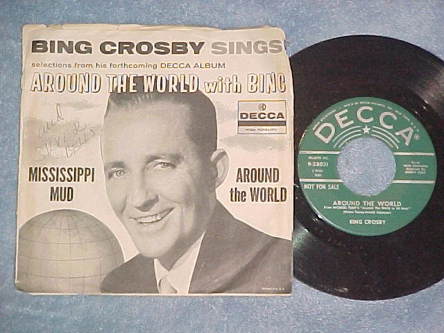 Promo 45 w/PS--AROUND THE WORLD WITH BING--Decca 38031