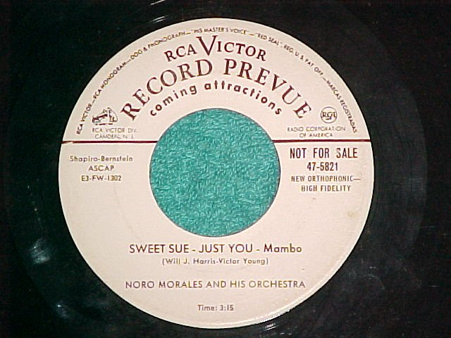 45-NORO MORALES-SWEET SUE-JUST YOU--1954-WL Promo--VG++