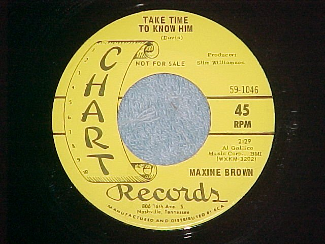 NM Promo 45-MAXINE BROWN(country)-TAKE TIME TO KNOW HIM