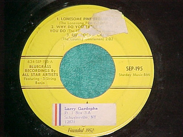 EP-Starday 195-BLUEGRASS RCDGS BY ALL STAR ARTISTS--VG+