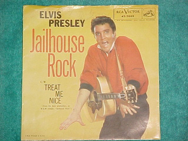 45 PS Only--ELVIS PRESLEY--JAILHOUSE ROCK--1957--VG+