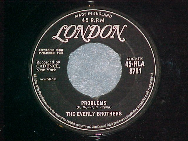UK 45-EVERLY BROTHERS-PROBLEMS-1958-London HLA-8781--NM