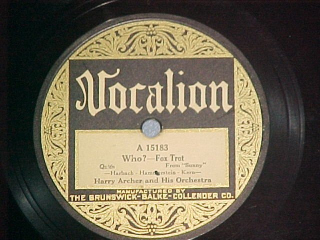 78--HARRY ARCHER ORCH--WHO?/SUNNY--Vocalion 15183--VG++