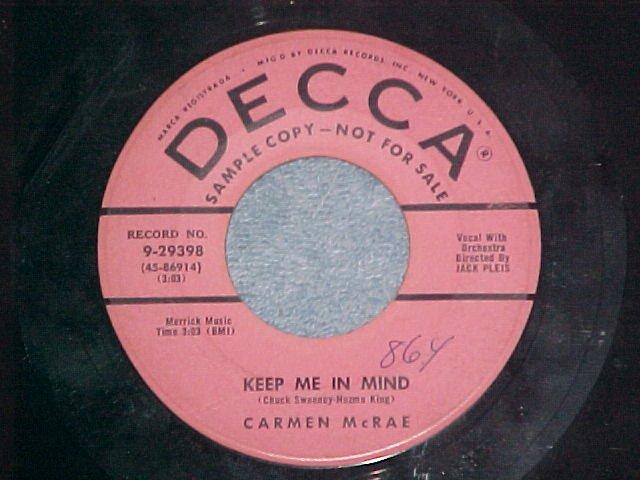 Promo 45-CARMEN McRAE-KEEP ME IN MIND-1954--Decca 29398
