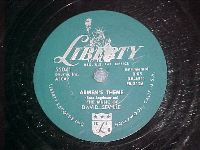78--DAVID SEVILLE (chipmunks)--ARMEN'S THEME--1956--VG+