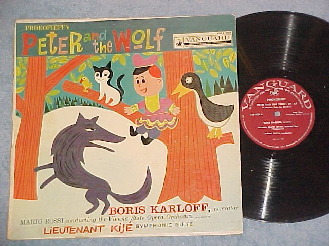 PETER AND THE WOLF-BORIS KARLOFF,narrator-NM/VG 1957 LP