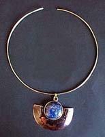 C469030119 - Bronze Necklace with Copper and LapisLazuli Pendant