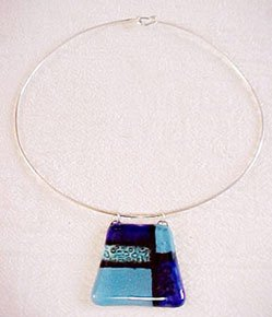 C474030521 - Necklace Blue Glass, Bronze Silver Plated