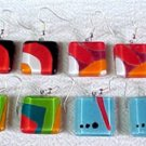 C474020641 Square Glass Earrings, Variety of Colors