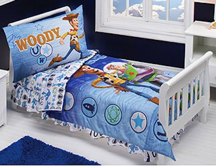 Toy Story Buzz And Woody 4 Piece Toddler Bedding Set New