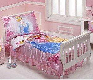 Disney Princess Pink Garden 4 Piece Toddler Bedding Set New