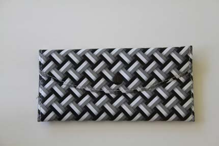 grey ,black, and white patterned wallet
