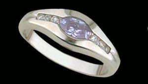 Lds Lavender CZ Sterling Silver Ring #4236