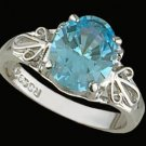 Lds Aqua CZ Sterling Silver Ring #4273