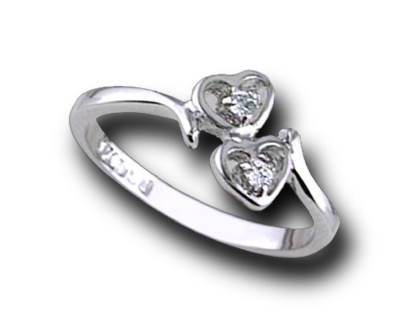 Two CZ Hearts #738