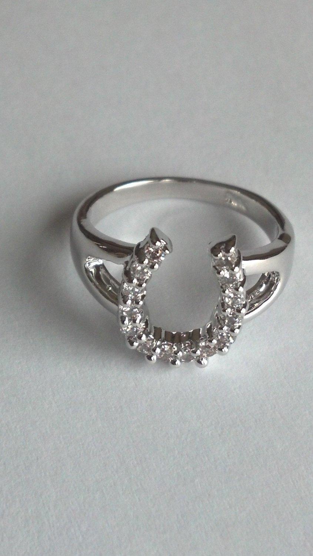 Ladies CZ Horseshoe Ring #745