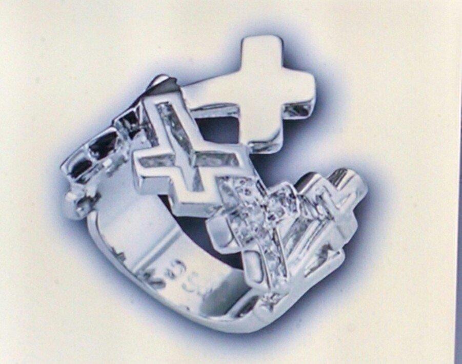 S/CZ Cross Ring #853