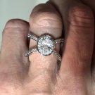 #6072 Ladies cz  Oval Criss Cross Rhodium Finish Fashion Ring