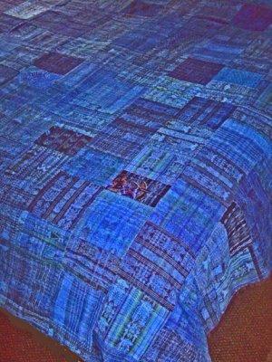 Vivid Bright Blue Huipile Guatemalan Patchwork Quilt  king size