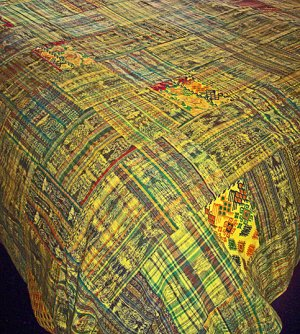 Guatemalan Patchwork Quilt! Yellow/Gold w/ just a hint of Green.  queen size