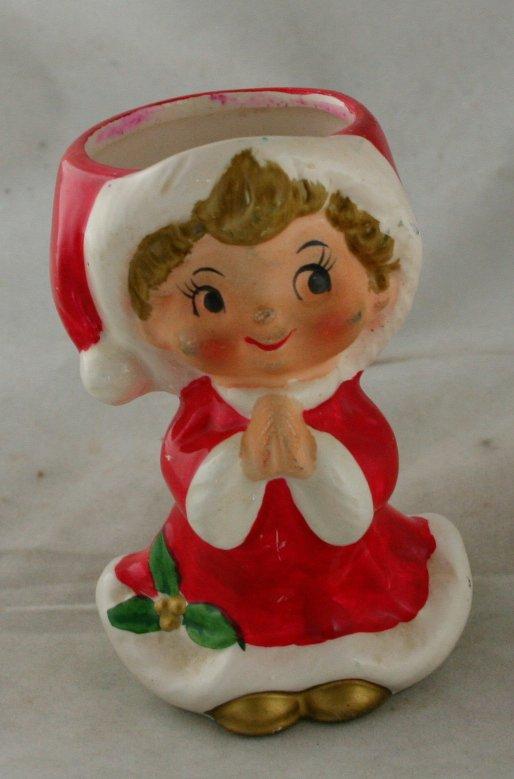 Vintage Christmas Ceramic Girl Candleholder- Japan