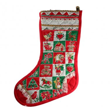 16 Inch Handmade Stocking Trimmed Embellished Quilted Cheater Fabric Front,Felt Back