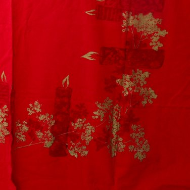 California Hand Prints Christmas Screen Print Red Tablecloth-VINTAGE Candles Greenery 60 x 72 Inches