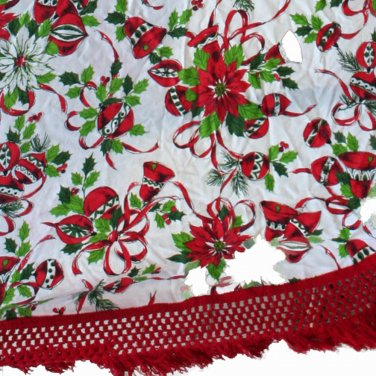 Oval Christmas Print Tablecloth-VINTAGE Ornaments,Ponsettias,Greenery 64 x 76 Inches
