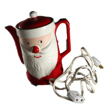 Hand Painted Japan Vintage Christmas Santa Electric Hot Pot, Tea,Coffee
