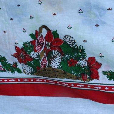 Christmas Border Print Tablecloth-VINTAGE Poinsettia Greenery 59 x 89 Inches