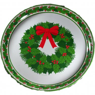1970s Hallmark Tin Serving Tray Wreath Design
