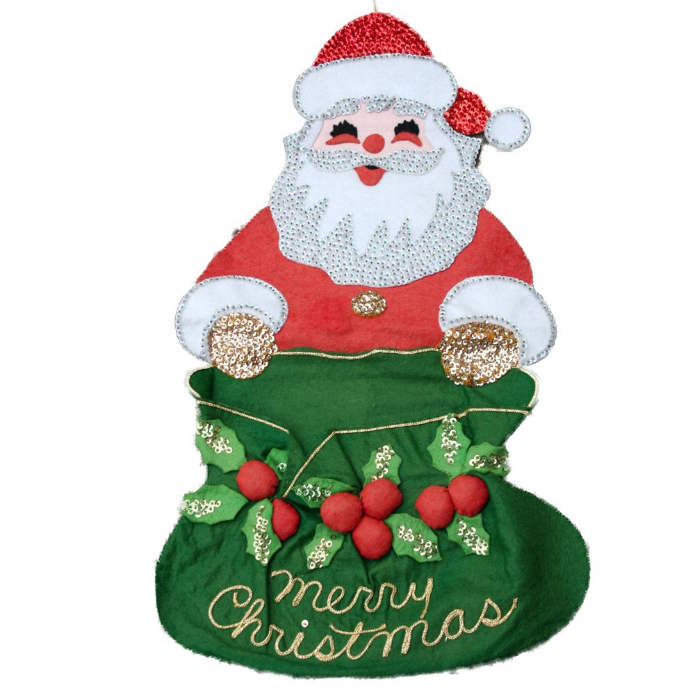 1970s Sequin Felt Santa Card Holder 23 Inches
