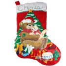 Sequin Embellished Teddy Bear Kitty Handmade Felt Christmas Stocking