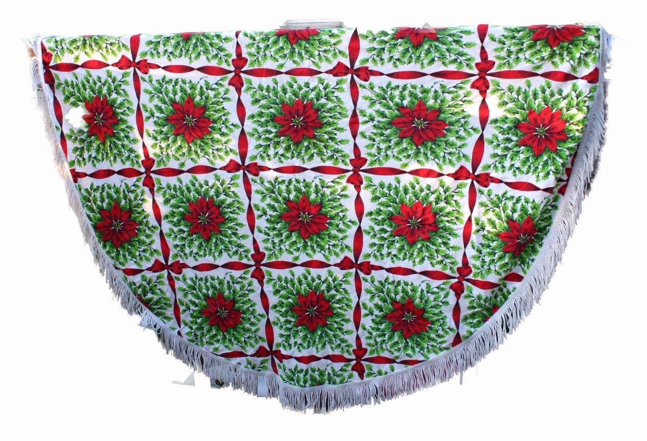 Christmas Print Tablecloth-VINTAGE Bows,Poinsettias,White Fringe 60 Inch Round