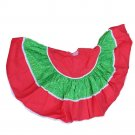 Handmade Red Green 1970s Gathered Fabric Tree Skirt-VINTAGE 40 Inches