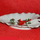 Lefton Cardinal Leaf Shaped Dish