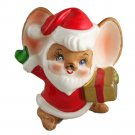 Made in Japan Santa Mouse Figurine VINTAGE CHRISTMAS Ceramic 3-1/2 Inches